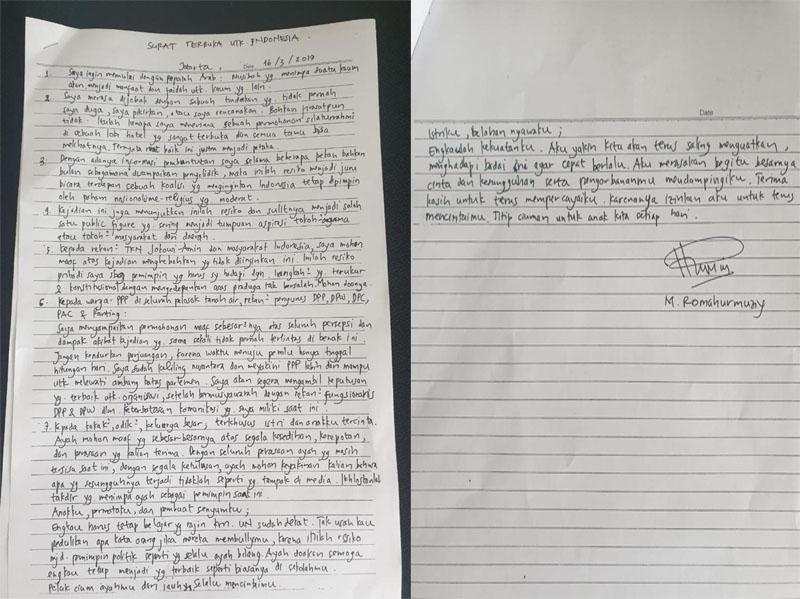 Isi Surat Ketum PPP Usai Ditetapkan Tersangka Oleh KPK