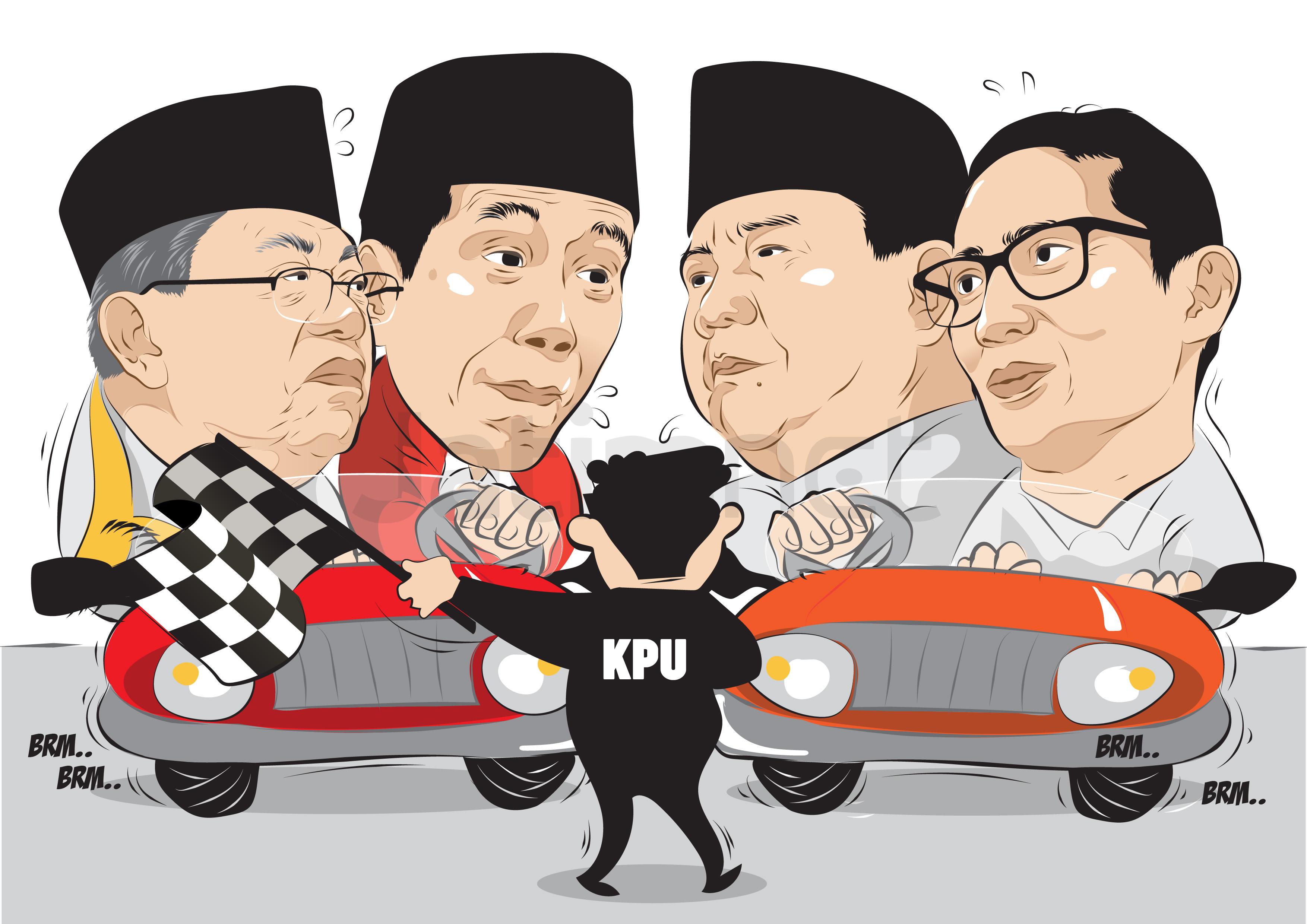 Jokowi Tunggu Hasil KPU, Prabowo Deklarasi Kemenangan