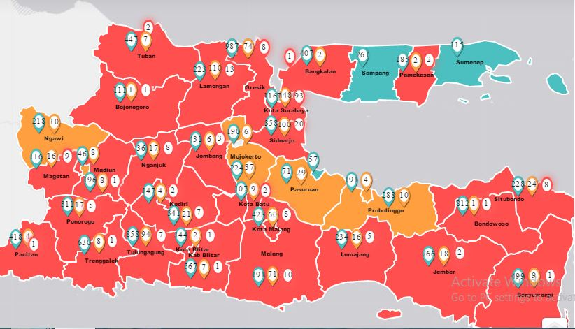 Sudah 28 Daerah Di Jatim Zona Merah Covid 19