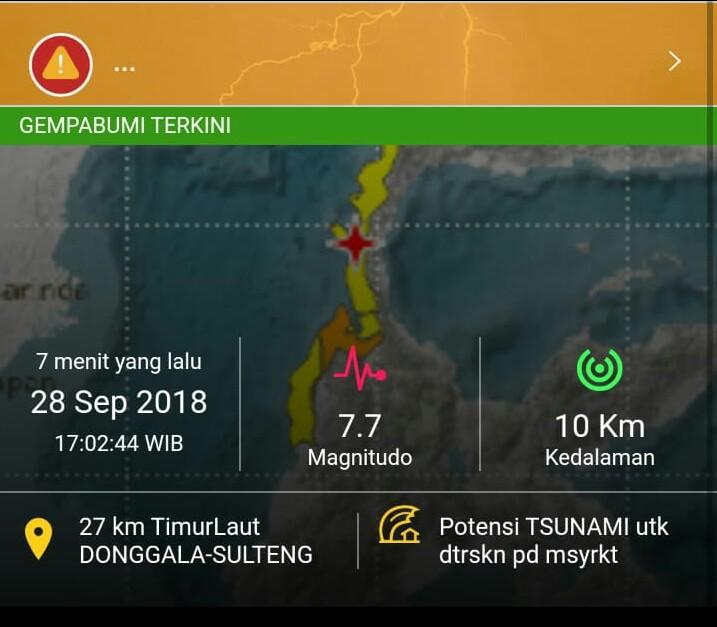 Gempa Guncang Wilayah Palu dan Donggala