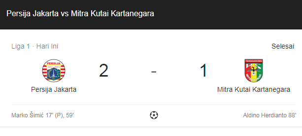Persija Juara Liga 1 Usai Kalahkan Mitra Kukar